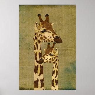 Poster de bronze dourado da arte dos girafas