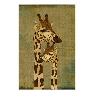 Poster de bronze dourado da arte dos girafas pôster