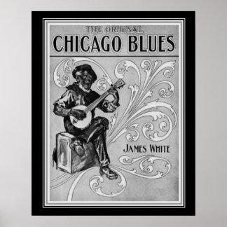 """Póster De """"impressão 1915 da partitura dos azuis Chicago"""""""