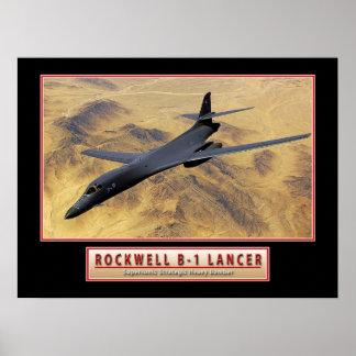 """Poster de """"lanceiro"""" 24x18 do avião militar B-1"""