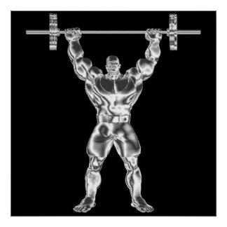 Poster de Powerlifter do cromo dos homens