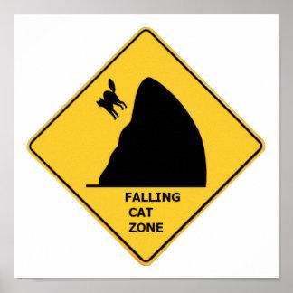 Poster de queda engraçado do sinal da zona do gato