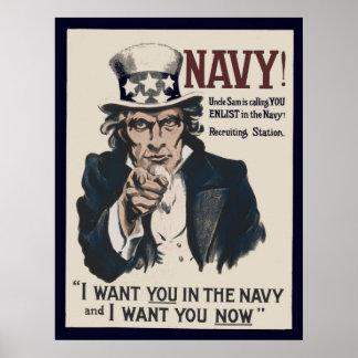 Poster de recrutamento do marinho WW1 do tio Sam Pôster