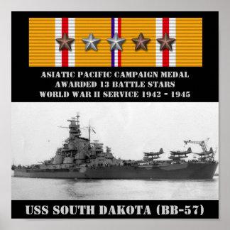 POSTER DE USS SOUTH DAKOTA (BB-57)