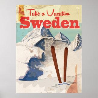 Poster de viagens da suecia do vintage