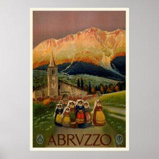 Poster de viagens de Abrvzzo do vintage Pôster