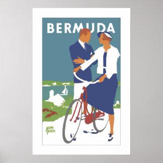 Poster de viagens de Bermuda do vintage