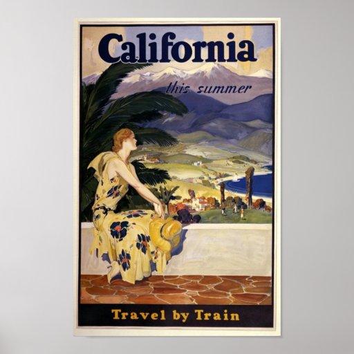 Poster de viagens de Califórnia do vintage