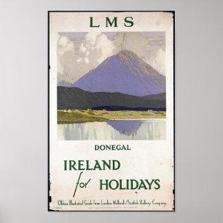 Poster de viagens de Ireland do vintage