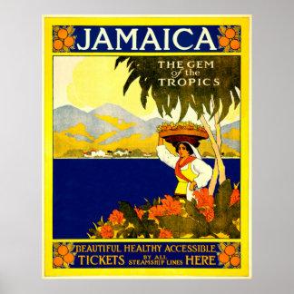 Poster de viagens de Jamaica do vintage Pôster