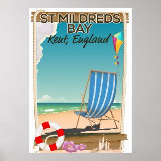 Poster de viagens de Kent Inglaterra da baía de