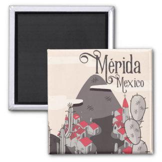 Poster de viagens de Mérida México Ímã Quadrado