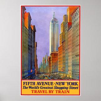 Poster de viagens de New York City da avenida do
