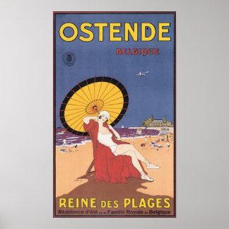 Poster de viagens de Ostende Belgique