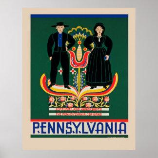 Poster de viagens de Pensilvânia do vintage Pôster