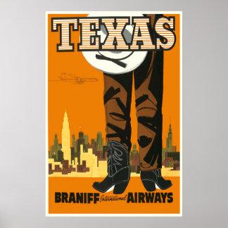 Poster de viagens de Texas do vintage