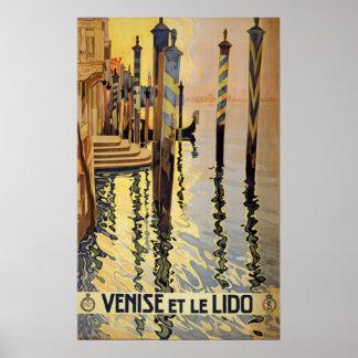 Poster de viagens de Veneza do vintage Pôster