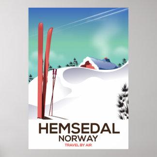 Poster de viagens do esqui de Hemsedal Noruega Pôster