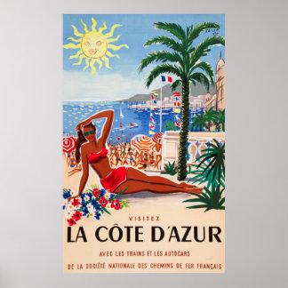 Poster de viagens do francês do vintage de Cote Pôster