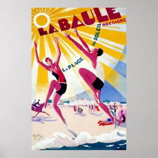 Poster de viagens do francês do vintage de La