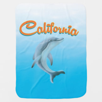 Poster de viagens do golfinho de Califórnia do Cobertor Para Bebe
