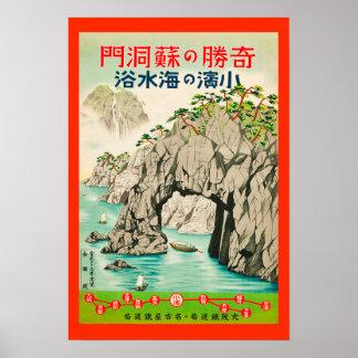 Poster de viagens do japonês do vintage pôster