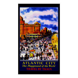 Poster de viagens do trem de Atlantic City do