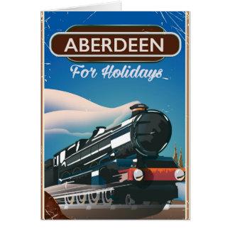 Poster de viagens do trem do vintage de Aberdeen Cartão Comemorativo