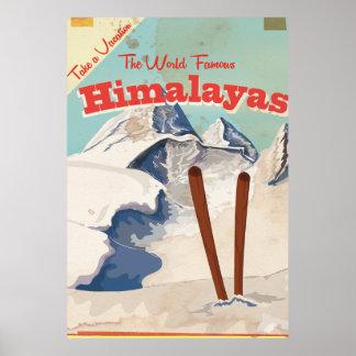 Poster de viagens dos Himalayas do vintage