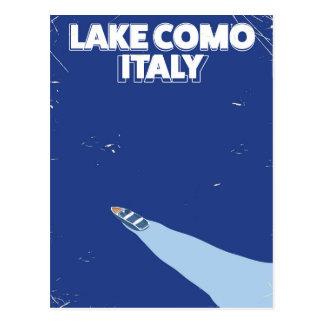 poster de viagens itlay do como do lago cartão postal
