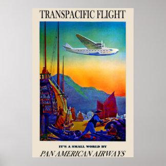 Poster de viagens transpacífico do vintage