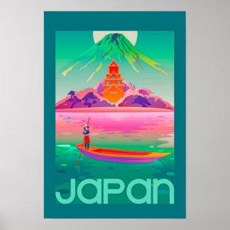 Poster de viagens vívido do japonês do vintage