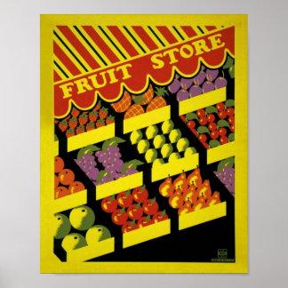 Poster de WPA da loja da fruta -