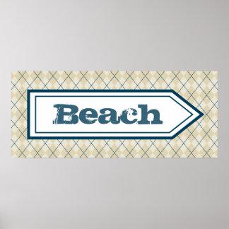 Poster decorativo do sinal da praia