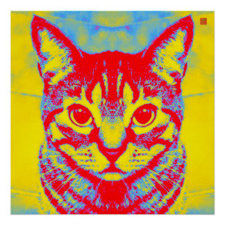 Pôster decorativo Psychedelic Cat Poster