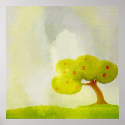 poster decorativo verde da árvore de maçã