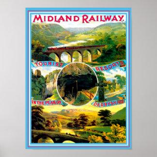 Poster Derbyshire Inglaterra das viagens vintage