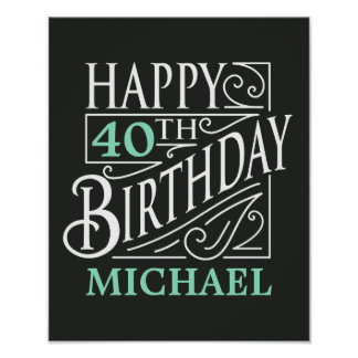 Póster Design do feliz aniversario, estilo decorativo do