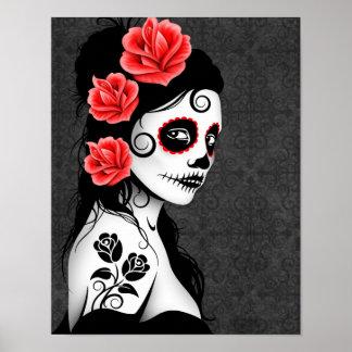 Poster Dia da menina inoperante do crânio do açúcar - cin