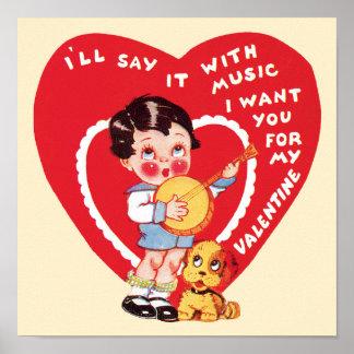 Póster Dia dos namorados bonito do vintage, banjo da