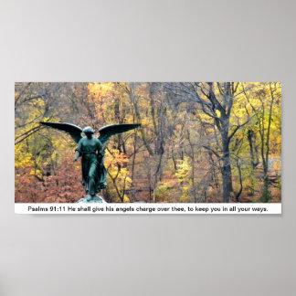 Poster do 91:11 dos salmos do ângulo da floresta