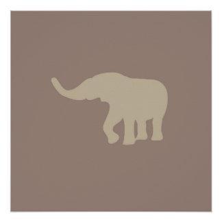 Poster do animal do elefante do safari de Brown Poster Perfeito