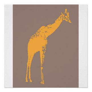 Poster do animal do girafa do safari de Brown Poster Perfeito