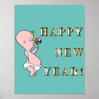 Poster do ano novo do bebê pôster