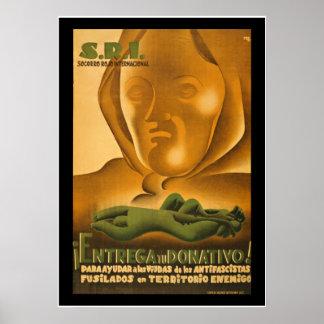 Poster do auxílio da propaganda da guerra civil