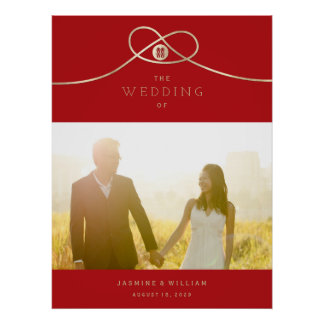 Poster do casamento da foto da felicidade do dobro