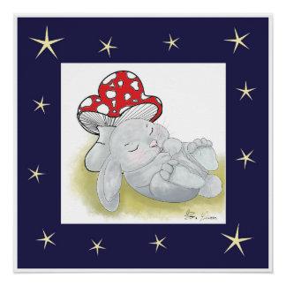 Poster do coelho do bebê do sono poster perfeito
