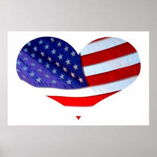 Poster do coração da bandeira americana