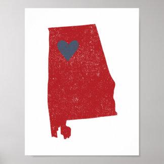 Poster do coração de Alabama (carmesim) -