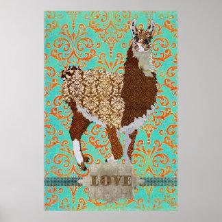 Poster do damasco do amor do lama pôster